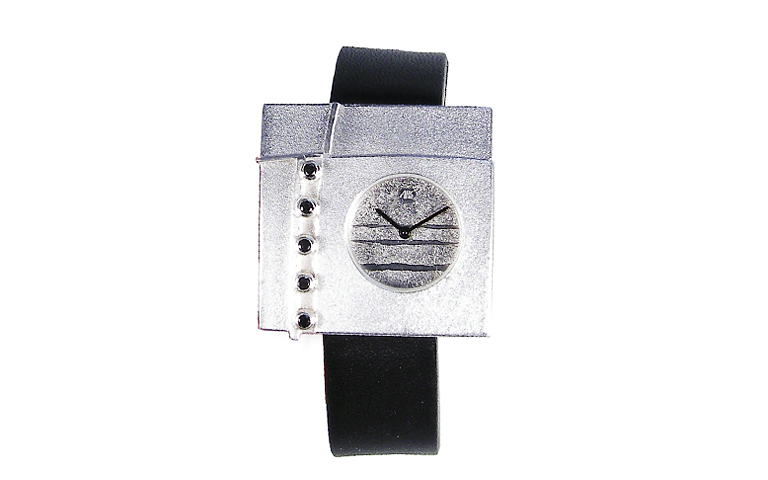 36019-watch, silver 925 with black brilliants