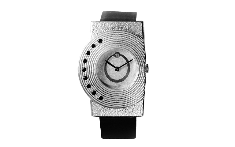 36020-watch, silver 925 with black brillants