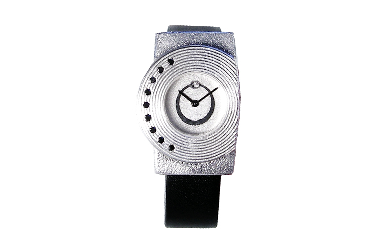 36020-watch, silver 925 with black brilliants