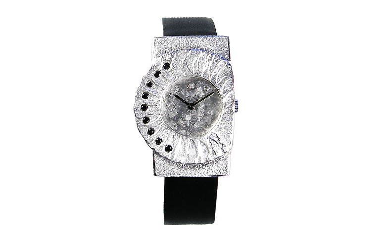 36021-watch, silver 925 with black brilliants