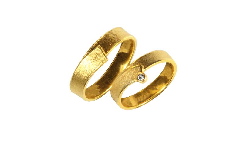 02115+02116-wedding rings, gold 750 and brillant