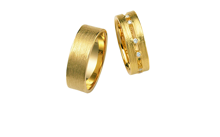 02255+02297-wedding ring, gold 750 with brilliants