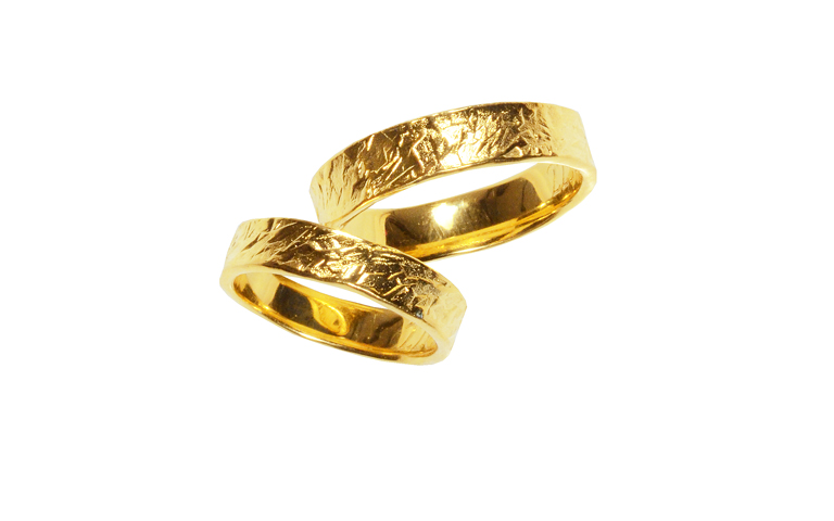02259+02260-wedding rings, gold 750