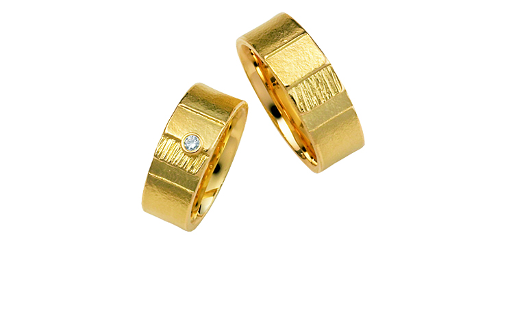 05006+05007-wedding ring, gold 750, with brilliant