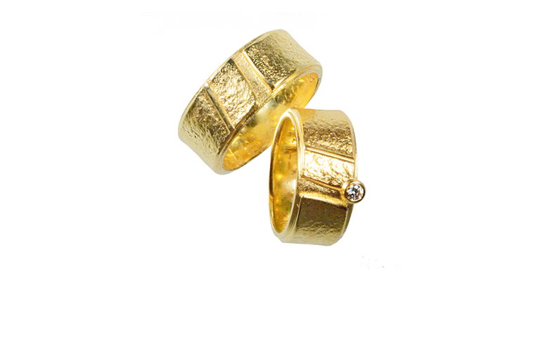 05008+05009-wedding rings, gold 750 and a brillant