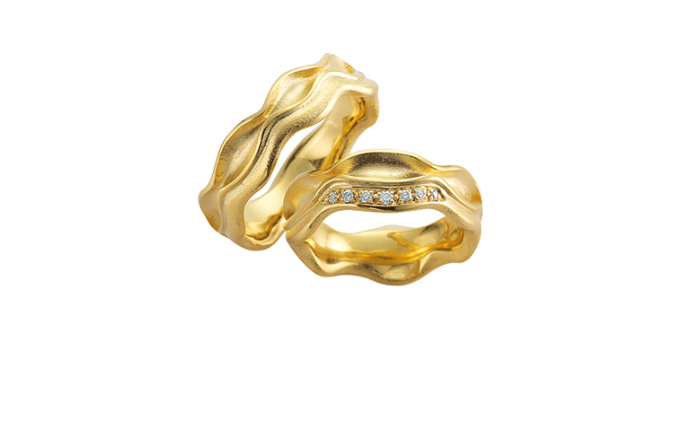 05128+05129-wedding rings, gold 750 and brillants