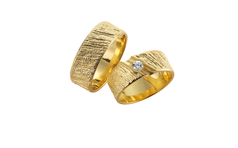 05142+05143-wedding rings, gold 750 and a brillant