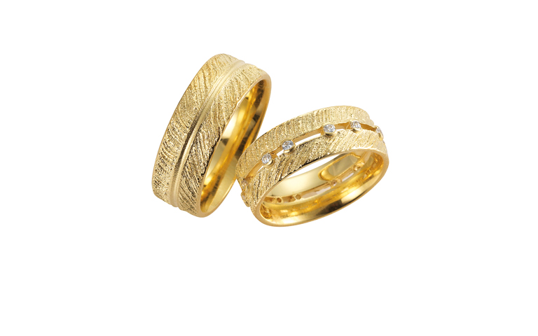 05147+05146-wedding rings, gold 750 with brillants