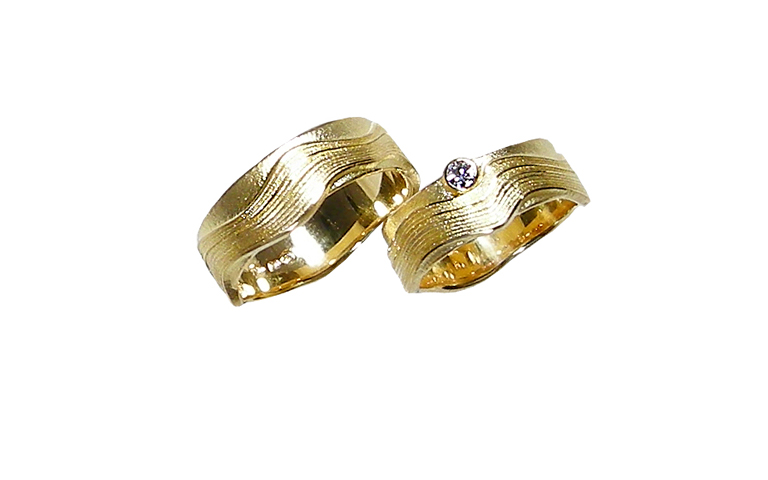 05161+05162-wedding rings, gold 750 with brillant