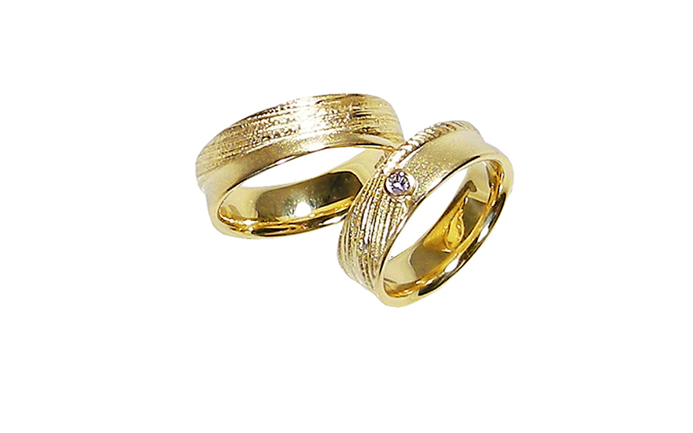 05163+05164-wedding rings, gold 750 with brillant