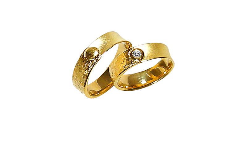 05165+05166-wedding rings, gold 750 and a brillant