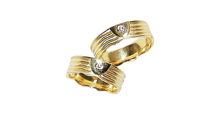 05167+05168-wedding rings, gold 750 with brillants