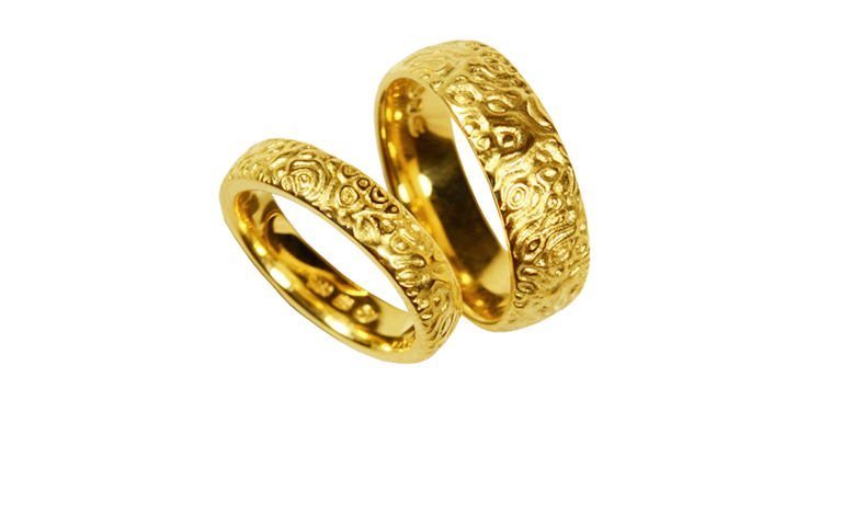 05189+05190-wedding rings, gold 750