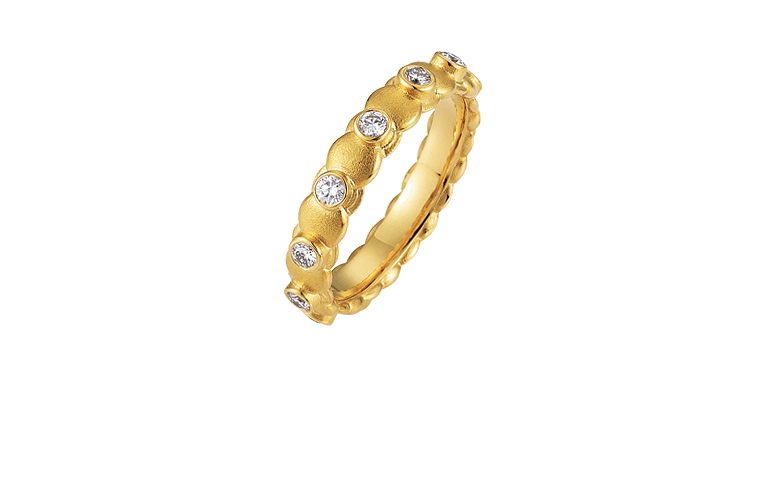 05192-engagement or adornment ring , gold 750 with brillants