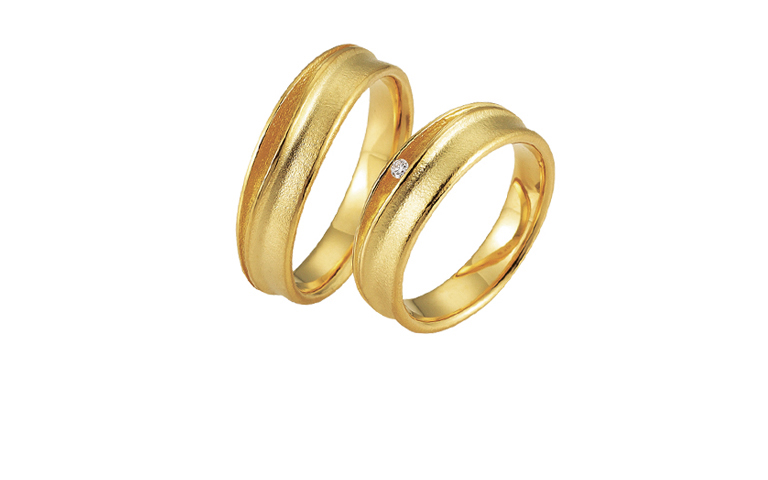 05198+05199-wedding rings, gold 750 with brillant