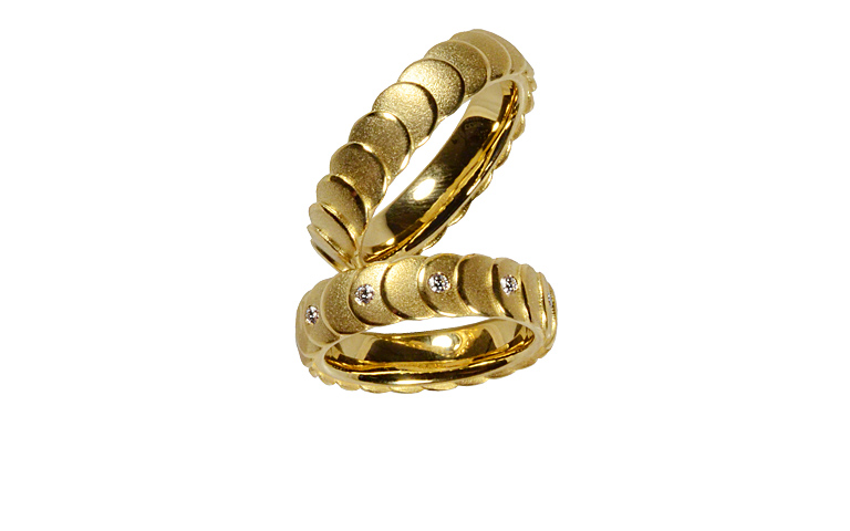 05215+05216-wedding rings, gold 750 with brillants