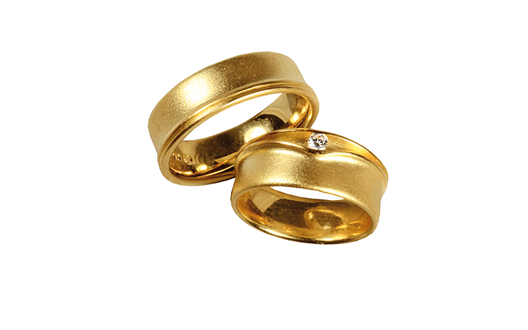05244+05245-wedding rings, gold 750 with brillant