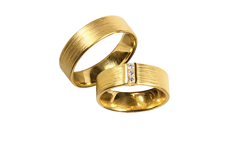 05251+05252-wedding rings, gold 750 and brillants