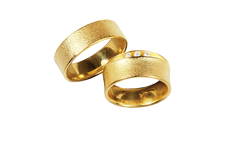 05257+05258-wedding rings, gold 750 and brillants