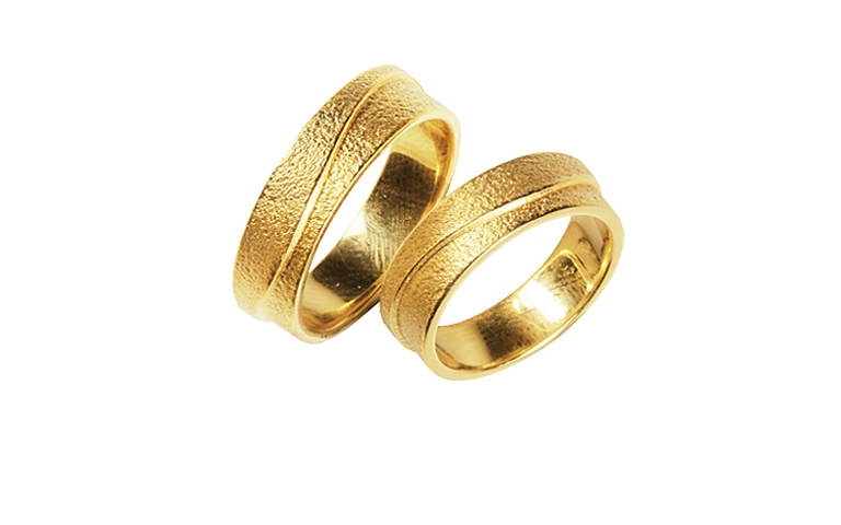 05266+05267-wedding rings, gold 750