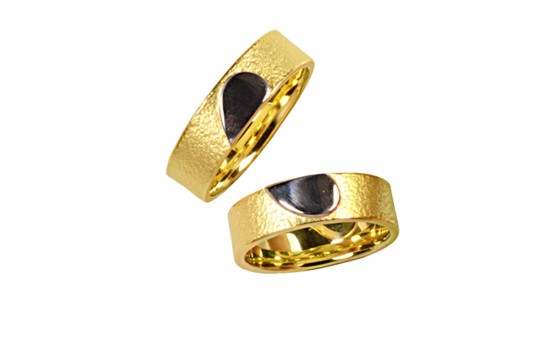 05311+05312-wedding rings, yellow and white gold 750