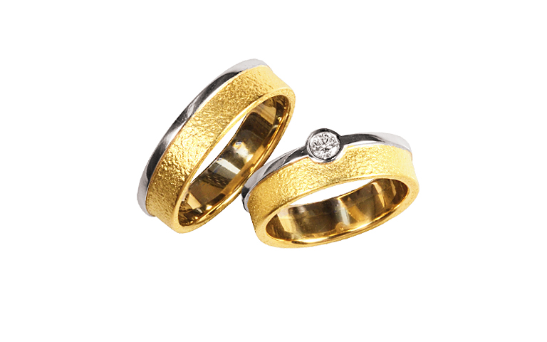 05313+05314-wedding rings, gold 750 and brillant