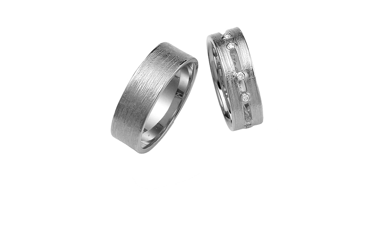 42255+42257-wedding rings, white gold 750