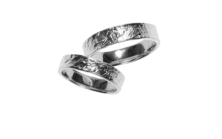 42259+42260-wedding rings, white gold 750