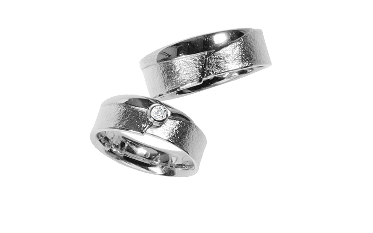 42351+42352-wedding rings, white gold 750 with brillants