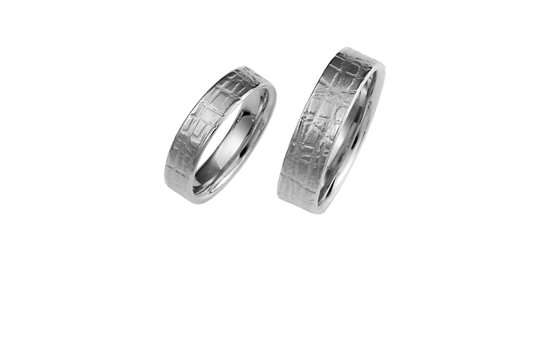 42355+42356-wedding rings, white gold 750