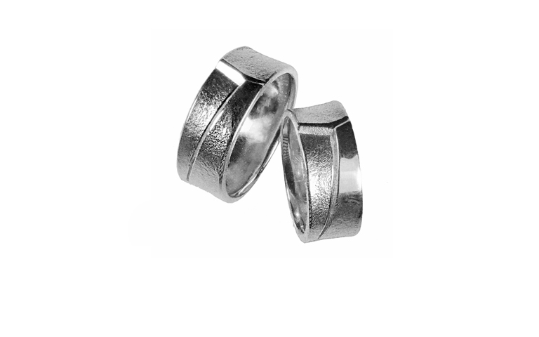45000+45001-wedding rings, white gold 750