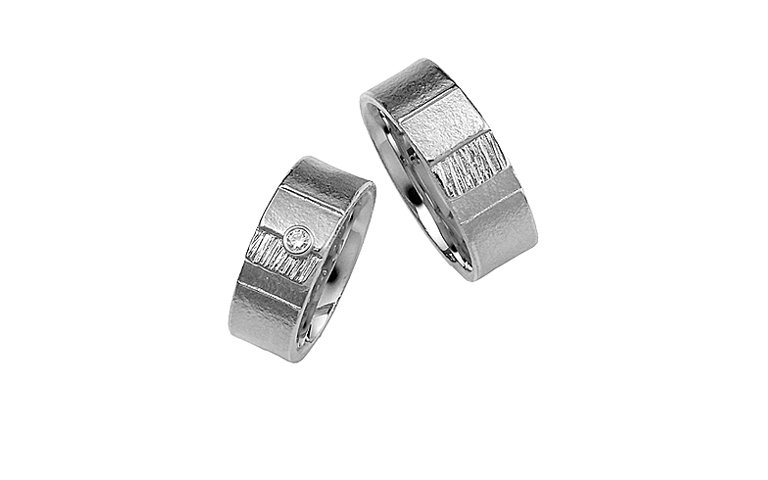 45006+45007-wedding rings, white gold 750wit a brillant