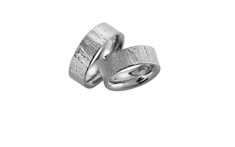 45035+45036-wedding rings, white gold 750