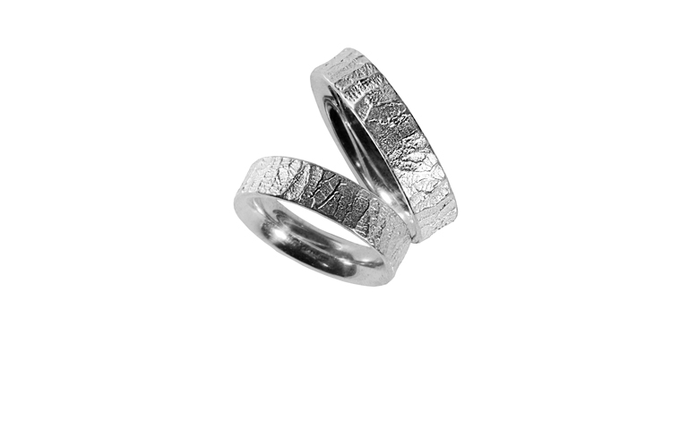 45040+45041-wedding rings, white gold 750