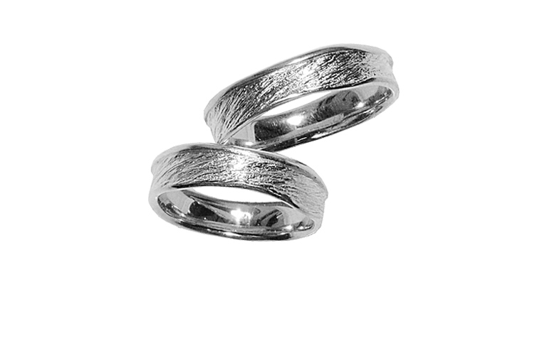 45068+45069-wedding rings, white gold 750