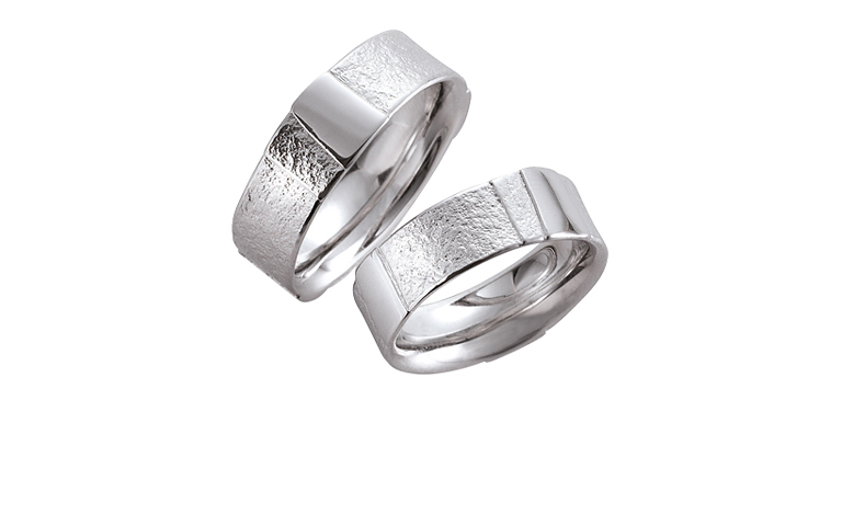 45083+45084-wedding rings, white gold 750