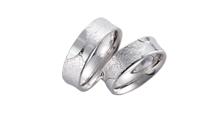 45085+45086-wedding rings, white gold 750