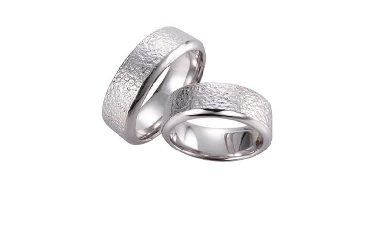 45095+45096-wedding rings, white gold 750
