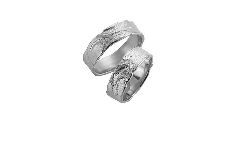 45099+45100-wedding rings, white gold 750