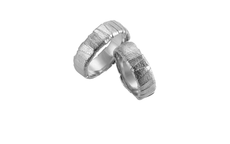 45103+45104-wedding rings, white gold 750