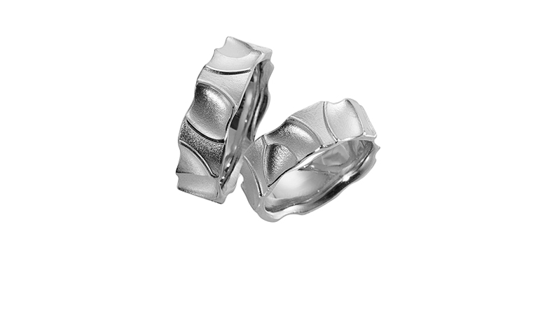 45123+45124-wedding rings, white gold 750