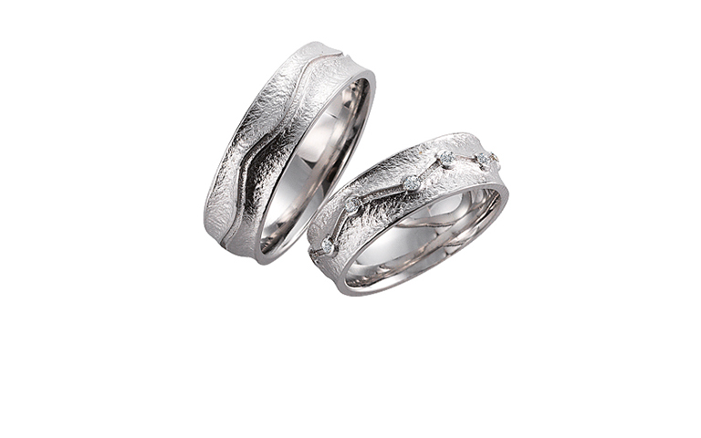 45132+45133-wedding rings, white gold 750 with brillants