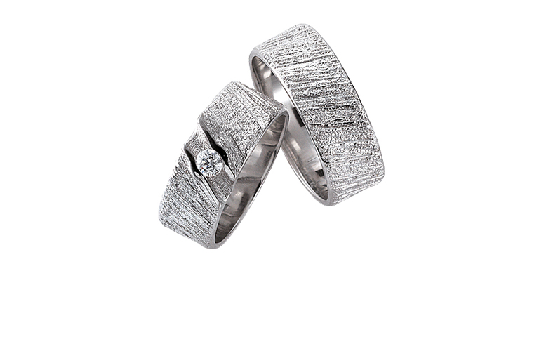 45142+45143-wedding rings, white gold 750 with brillant