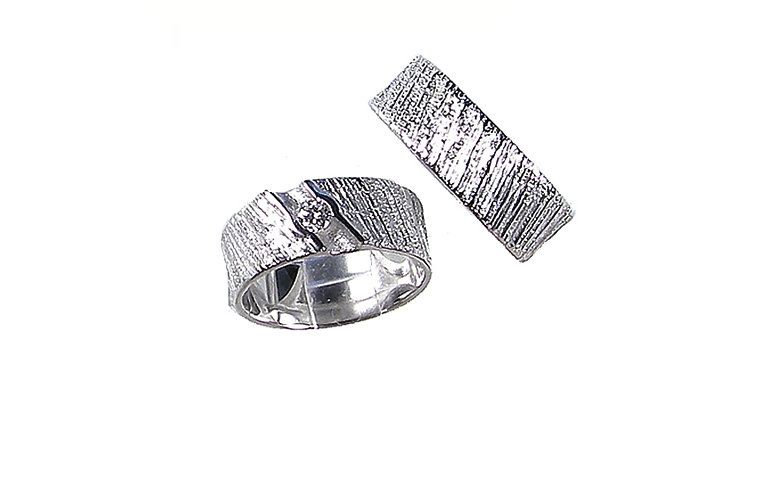 45142+45143-wedding rings, white gold 750, brillant