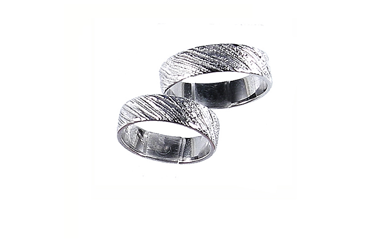 45144+45145-wedding rings, white gold 750