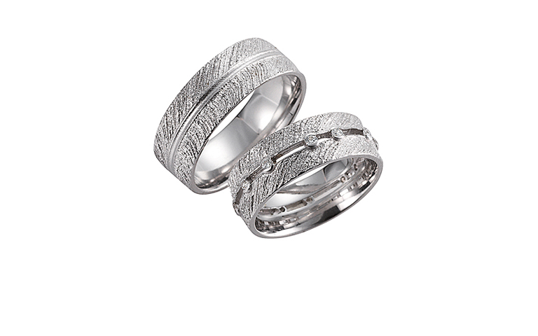 45146+45147-wedding rings, white gold 750 with brillants