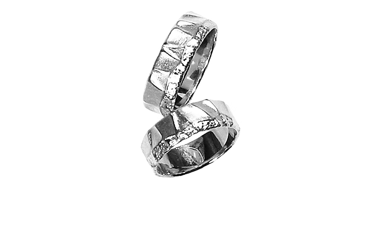 45159+45160-wedding rings, white gold 750