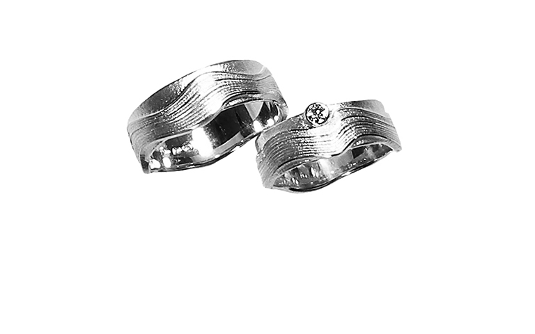 45161+45162-wedding rings, white gold 750 with brillant