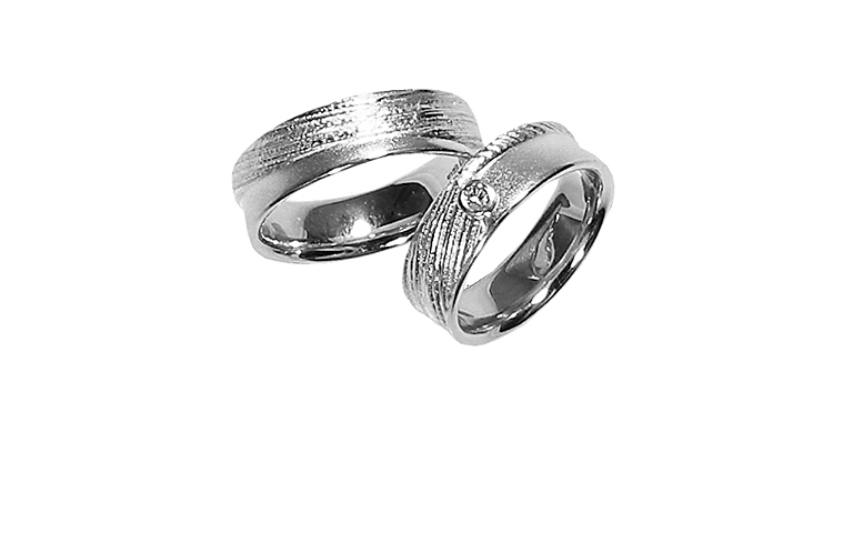 45163+45164-wedding rings, white gold 750 with brillant
