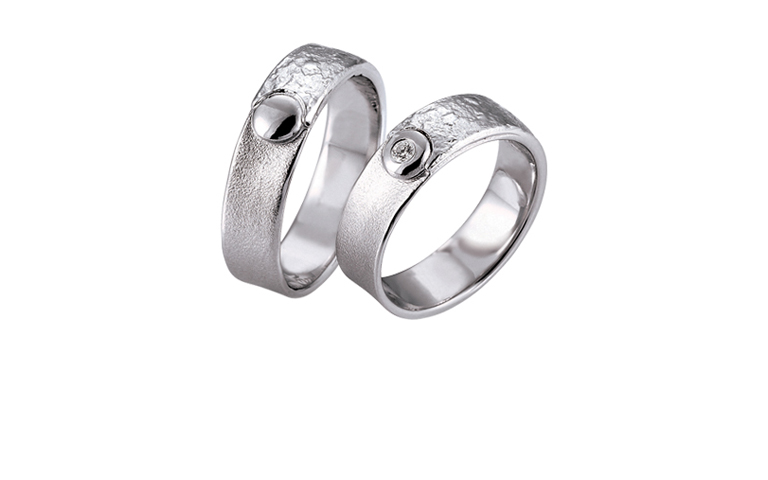 45165+45166-wedding rings, whitegold 750 with brillant